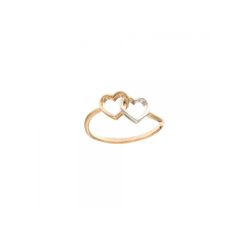 6fa7e34fbc1c7c Anello con cuori intrecciati in oro rosa e bianco 18k 750/1000 da donna