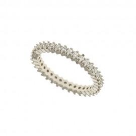 Anello veretta in oro 18k 750/1000 con zirconi bianchi da donna