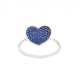 Anello in oro bianco 18Kt 750/1000 con cuore e zirconi blue da donna