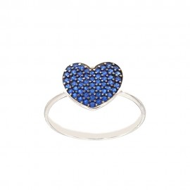 White gold 18k 750/1000 blue cubic zirconia heart woman ring