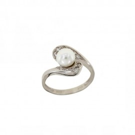 White gold 18kt 750/1000 with natural freshwater pearl and white cubic zirconia woman ring
