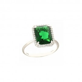 Anello in oro bianco 18Kt 750/1000 con pietra verde rettangolare