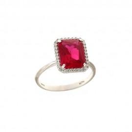 White gold 18k 750/1000 rectangular red quartz woman ring