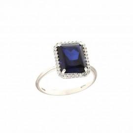 Anello in oro bianco 18Kt 750/1000 con pietra blu rettangolare