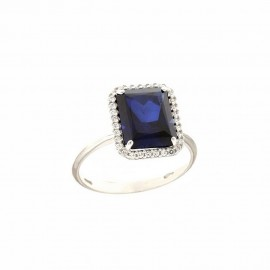 White gold 18k 750/1000 rectangular blue quartz woman ring