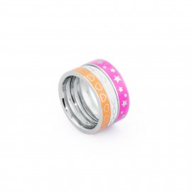 S'agapõ stainless steel, three colored rings SAG34
