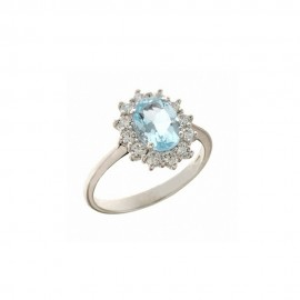 White gold 18k 750/1000 light blue stone and white cubic zirconia woman ring