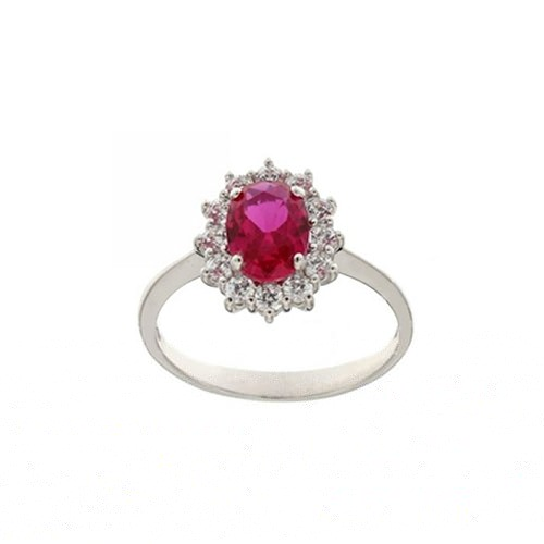 White gold 18k 750/1000 light red stone and white cubic zirconia woman ring