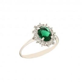 Anello con pietra verde e zirconi bianchi in oro bianco 18 Kt 750/1000