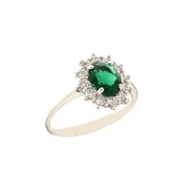 White gold 18k 750/1000 light green stone and white cubic zirconia woman ring