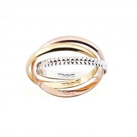 Tre anelli intrecciati in oro bianco, giallo e rosa 18 Kt 750/1000