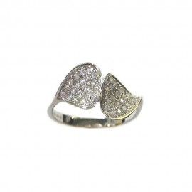 White gold 18k 750/1000 Leafs with white cubic zirconia woman ring