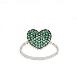 Anello in oro bianco 18 Kt 750/1000 con cuore e zirconi verdi