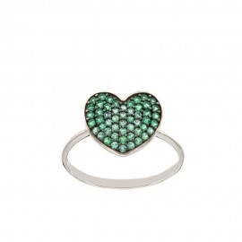White gold 18k 750/1000 green cubic zirconia heart woman ring