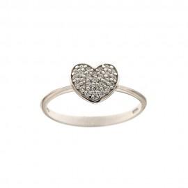 Anello con cuore in oro bianco 18Kt 750/1000 e zirconi bianchi da donna