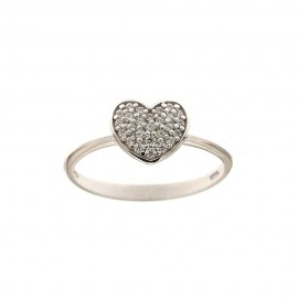 White gold 18k 750/1000 white cubic zirconia heart woman ring