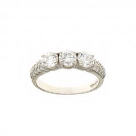 White gold 18k 750/1000 white cubic zirconia Trilogy woman ring