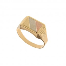 Anello a scudo da uomo in oro giallo, bianco e rosa 18 Kt 750/1000