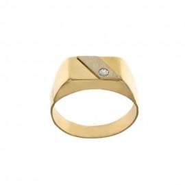 Anello in oro giallo e bianco 18 Kt a scudo con zircone