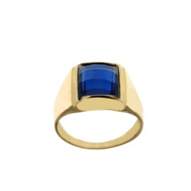 Yellow Gold 18 K rectangular blue stone man ring