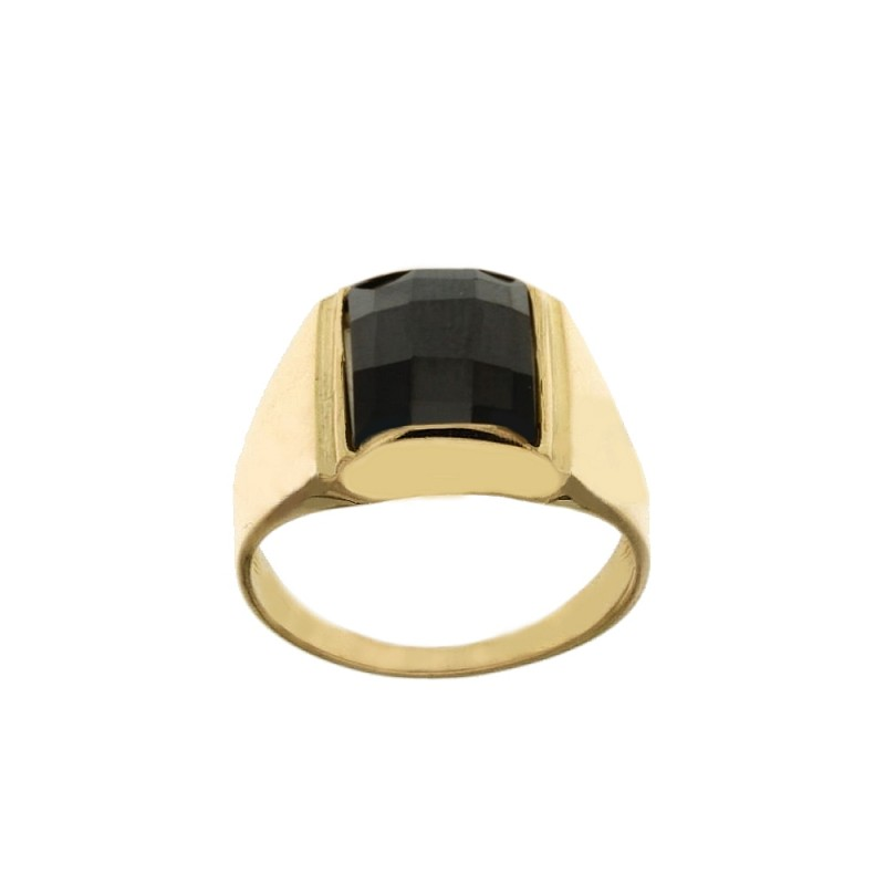 Yellow Gold 18 K rectangular black stone man ring