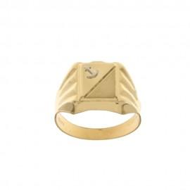 Anello in oro giallo 18 Kt a scudo con ancora in rilievo da uomo