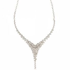 Collana da sposa in oro bianco 18 Kt 750/1000 con zirconi bianchi