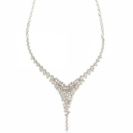 White gold 18k with white cubic zirconia bride necklace