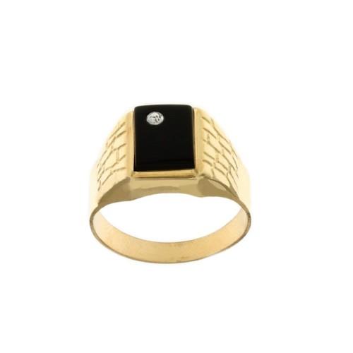 Yellow gold 18k rectangular black onyx man ring