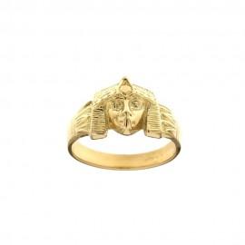 Anello in oro giallo 18 Kt 750/1000 lucido con testa egizia