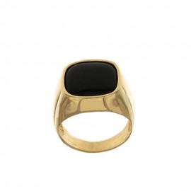 Yellow gold 18k 750/1000 black stone man ring