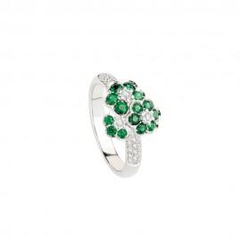 Anello in oro bianco 18 Kt con diamanti e smeraldi Polello