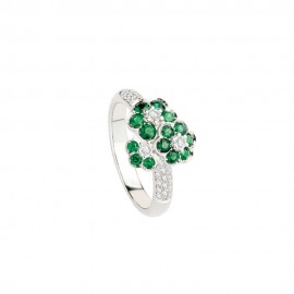 White gold 18k with diamonds and emeralds Polello woman ring