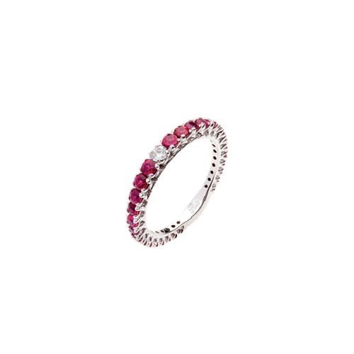 Veretta in Oro bianco 18 Kt con rubini e diamanti Polello da donna