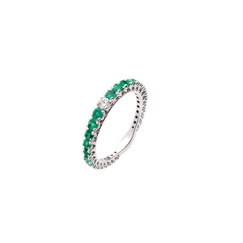 Veretta in oro bianco 18 Kt con smeraldi e diamanti da donna Polello