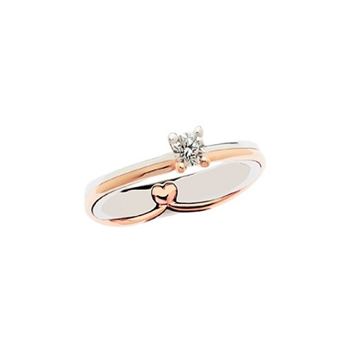 Solitario in oro bianco e rosa 18Kt 750/1000 con diamante Polello