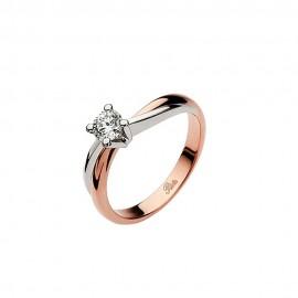Anello solitario in oro rosa e platino con diamante 0.30 Kt da donna Polello