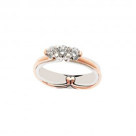 White and rose gold 18k with diamonds 0.30Ct Trilogy woman ring