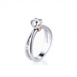 Solitario in oro bianco e rosa 18 Kt con diamanti da donna Polello G2214BR