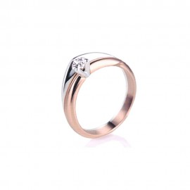 Rose and white gold 18k with diamond 0.10Ct Polello solitaire ring