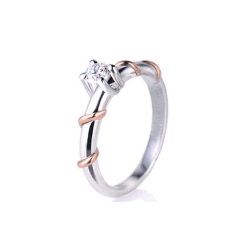 Solitario in bianco e rosa 18Kt con diamante 0.10 Ct da donna Polello