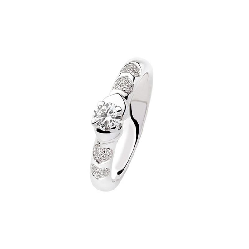 Solitario in oro bianco 18 Kt e diamanti da donna Polello