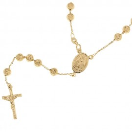 Yellow gold 18k 750/1000 length 19.7 inch multifaceted spheres Rosary necklace