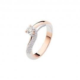 Anello solitario in oro bianco e rosa 18 Kt con diamanti da donna Polello G2903BR1