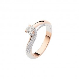 White and rose gold 18k Solitaire woman ring Polello G2903BR1