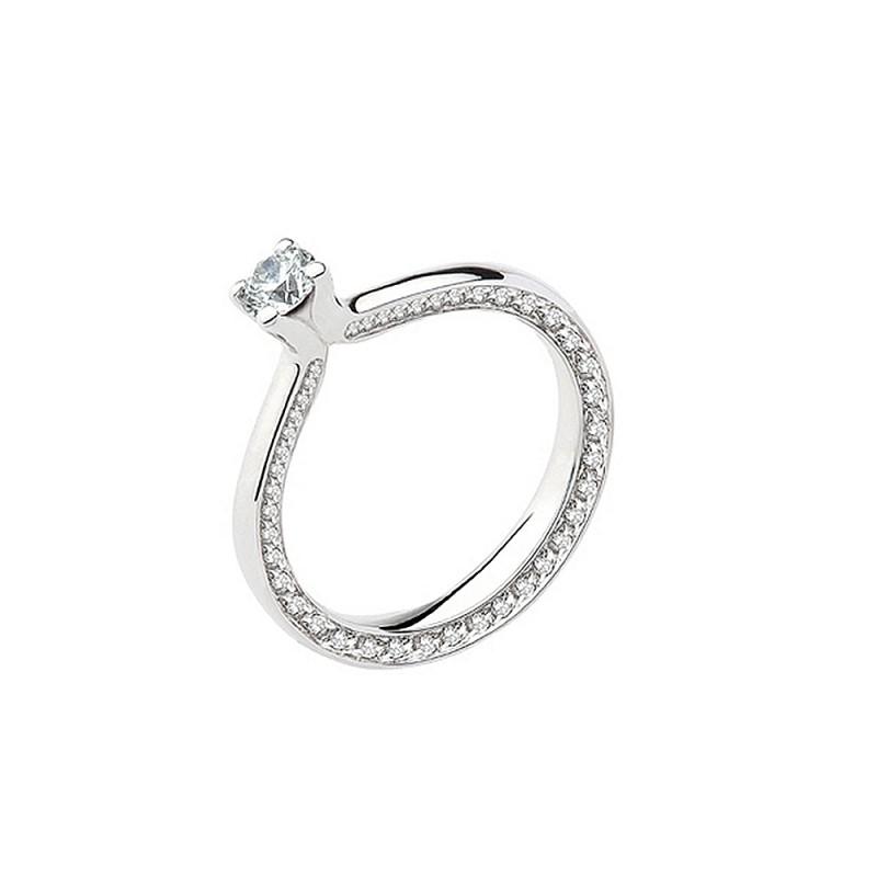 Anello solitario in oro bianco 18 Kt da donna con diamanti Polello G2901B1