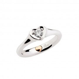 White gold 18k with rose gold heart Polello solitaire ring G2886BR1