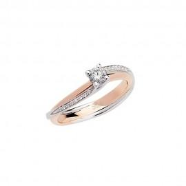 Anello solitario in oro bianco e rosa 18 Kt da donna Polello G2884BR