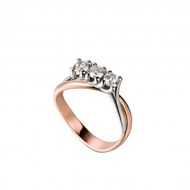 White and rose gold 18k diamonds 0.30 Ct trilogy Polello ring G2483BR