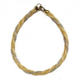 Bracciale intrecciato in oro giallo e bianco 18 Kt 750/1000 da donna
